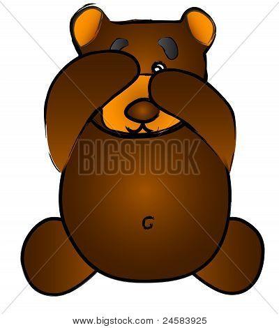 Cute Vector Bear Covering Eye, Peek-A-Boo, See No Evil