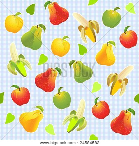 Vector Seamless Pattern With Different Fruits