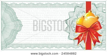 Golden Christmas Gift Certificate or Discount Coupon template / with text