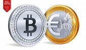 Bitcoin. Euro Coin. 3d Isometric Physical Coins. Digital Currency. Cryptocurrency. Golden And Silver poster