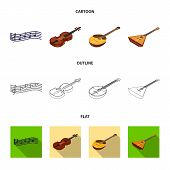 Musical Instrument Cartoon, Outline, Flat Icons In Set Collection For Design. String And Wind Instru poster