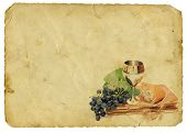 image of chalice antique  - Holy Communion Elements On Old Paper Background - JPG