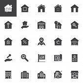 Real Estate Vector Icons Set, Modern Solid Symbol Collection, Filled Style Pictogram Pack. Signs, Lo poster