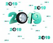 3d Illustration Of Many Sport Wheel 2019 Designs With Many Wheels On A White Background poster