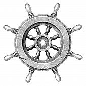 Old Steering Wheel Ship Hand Drawing Vintage Style poster