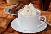 stock photo of hot-chocolate  - A cup of hot chocolate with whipped cream and truffles - JPG