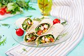 Burritos Wraps With Chicken And Vegetables On Light  Background. Chicken Burrito, Mexican Food. poster
