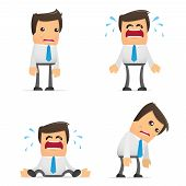stock photo of sad man  - set of funny cartoon office worker in various poses for use in presentations - JPG