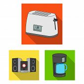 Smart Home Appliances Flat Icons In Set Collection For Design. Modern Household Appliances Vector Sy poster