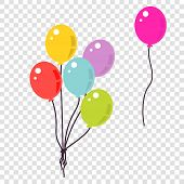 Colorful Balloons Flat Style Illustration. Bunch Of Balloons Isolated Vector. poster