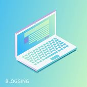 Isometric Gradiented Laptop - Opened Web Site With Blog Post Or News Article On Notebook Computer Sc poster