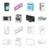 Home Appliances And Equipment Cartoon, Outline Icons In Set Collection For Design.modern Household A poster