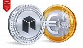 Neo. Euro Coin. 3d Isometric Physical Coins. Digital Currency. Cryptocurrency. Golden And Silver Coi poster