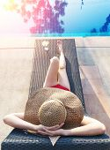 Real Female Beauty Relaxing At Swimming Pool, Summer Vacation Concept,women In Swimsuit Relax With C poster