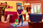 Man Cleaning Living Room Vector Illustration Of Househusband Or College Boy With Vacuum Cleaner On C poster