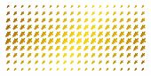 Oak Leaf Icon Golden Halftone Pattern. Vector Oak Leaf Items Are Organized Into Halftone Matrix With poster