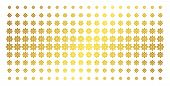 Cogwheel Icon Golden Halftone Pattern. Vector Cogwheel Shapes Are Arranged Into Halftone Matrix With poster