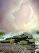 foto of fairy-tale  - Fantasy Landscape in the ocean with rocks - JPG