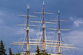picture of big-rig  - Rigging of big sailing ship against the blue sky background - JPG