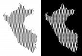Halftone Round Pixel Peru Map. Vector Geographical Maps In Gray And White Colors On White And Black  poster