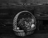 Basket Full Of Homegrown Autumn Fruit On Vintage Wooden Background. Grapes And Apples In Wicker Bask poster