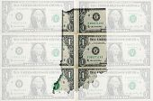 Outline Map Of Indiana With Transparent American Dollar Banknotes In Background