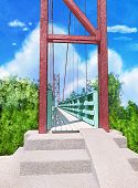 Suspension Bridge.  Painted Background In Anime Style. Template For The Cover. Digital Illustration. poster