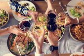 Friends gathering having Italian food together poster