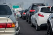 Traffic Jam With Row Of Cars poster