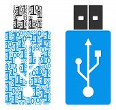 Usb Flash Drive Mosaic Icon Of Binary Digits In Various Sizes. Vector Digits Are Scattered Into Usb  poster