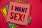 Words Writing Texts I Want Sex Motivational Call. Business Concept For To Desire Sexual Intercourse  poster