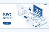 Seo Optimizationfor Website And Mobile Website.flat Vector Isometric Concept poster