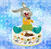 stock photo of have sweet dreams  - The small fantastic hare with pleasure has unpacked the celebratory New Year - JPG
