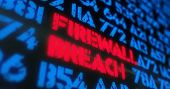 Cyber Attack And Firewall Breach Concept. Red Alert, Warning And Buzzword In Screen Stylised Illustr poster