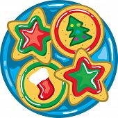 picture of christmas cookie  - full color vibrant illustration of christmas cookies on a plate - JPG