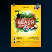 Vector Summer Beach Party Flyer Design With Typographic Elements On Wood Texture Background. Tropica poster