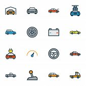 Automobile Icons Colored Line Set With Cabriolet, Speedometer, Gear And Other Rudder Elements. Isola poster