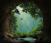 Fantasy Cave In The Mountains. 3d Rendering. Photo Manipulation. poster