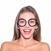 Pretty Girl In Black Glasses. Different Emotions. Feeling And Emotions. Emoji Set. Girl In Glasses.  poster
