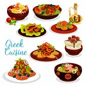 Greek Cuisine Seafood Lunch With Dessert Icon. Vegetable Mushroom Salad, Pepper With Feta Cheese And poster