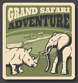 Safari Animal Vintage Poster For Hunting Sport Club Design. African Elephant And Rhino Savanna Wild  poster