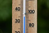 Thermometer showing hot summer temperatures outside poster
