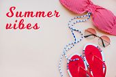 Summer Fashion Flatlay With Gradient Round Sunglasses, Flats And Red Striped Bikini Top. Perfect Bea poster