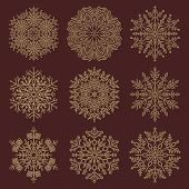 Set Of Vector Snowflakes. Fine Winter Ornaments. Snowflakes Collection. Golden Snowflakes For Backgr poster