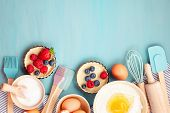 Baking Utensils And Cooking Ingredients For Tarts, Cookies, Dough And Pastry. Flat Lay With Eggs, Fl poster
