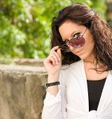 foto of hottie  - Gorgeous brunette in sunglasses seductive summer hottie - JPG