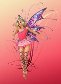 stock photo of prince charming  - A charming fairy with wings wreath and a frog prince - JPG