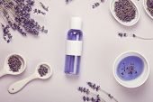 Lavender Body Care Products. Aromatherapy, Spa And Natural Healthcare Concept. Product Mockup poster