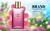 Perfume Ads Realistic Style Perfume In A Glass Bottle On Floral Blured Background Bokeh Pink Flowers poster