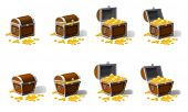 Set Old Pirate Chests Full Of Treasures, Gold Coins, Vector, Cartoon Style Illustration Isolated poster